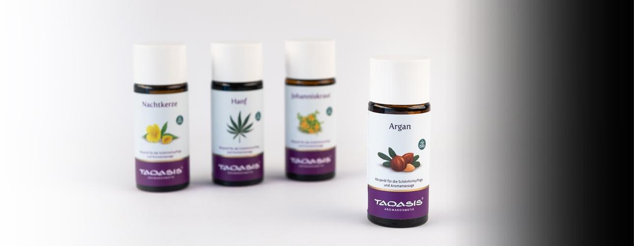 TAOASIS naravna negovalna olja za masažo in razvajanje.
